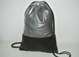 School Backpack black-silver-colored