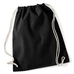 NEU: Turnbeutel Rucksackbeutel schwarz unbedruckt Drawstring Backpack