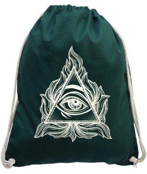NEU: Turnbeutel Sportbeutel Auge Baumwolle Backpack Siebdruck Gymbag Jute
