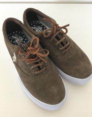 Neu U.S. Polo Assn. USPA Sneaker Leder Slipper 38 Echtleder Suede Khaki Halbschuhe