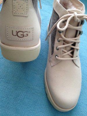 Neu UGG US9 Gr 40 rosa Nubuk Leder Canvas Bethany Boots Sheepskin