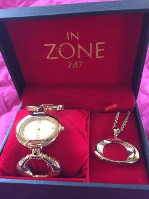 NEU Uhr mit Kette von IN ZONE 247mit Metallarmband in gold