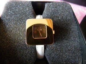 Neu! Uhr von O.I.W. goldfarben weißes Band