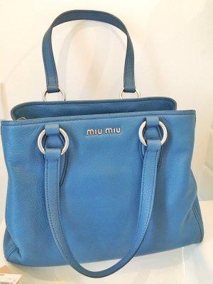 Miu Miu Handbag steel blue-silver-colored leather