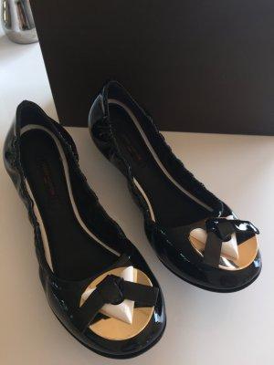 Louis Vuitton Bailarinas de charol con tacón negro-color oro