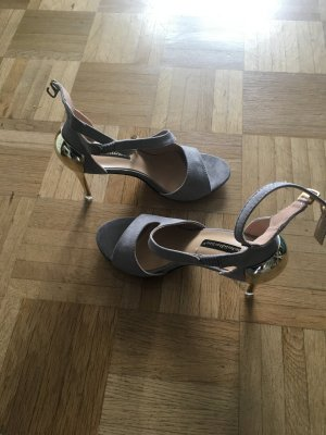 Strapped High-Heeled Sandals grey-gold-colored