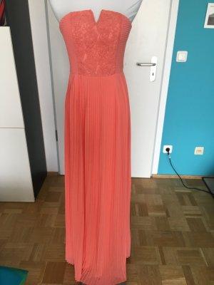 Neu und ungetragen! Schickes bodenlanges Kleid, plissiert, in apricot, 34, trägerlos, mit Spitze