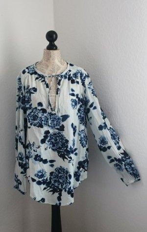 Blusa de túnica azul-blanco Algodón