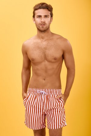 Ancora Swimming Trunk brick red-white polyester