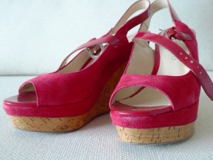 Wedge Sandals magenta leather