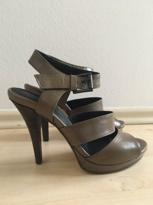 Strenesse Strapped High-Heeled Sandals green grey