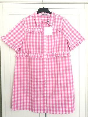 Unique Shirtwaist dress pink-white cotton