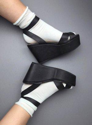Neu! Urban Outfitters Deena & Ozzy Plateau Leder Sandalen Blogger 90s 39