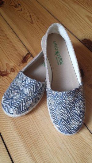 Pantofola beige-blu scuro