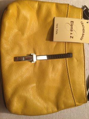 Neu! Vera Pelle senfgelbe Lederhandtasche