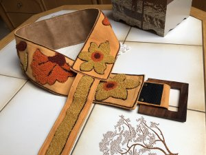 0039 Italy Cintura in tessuto arancione-giallo-oro