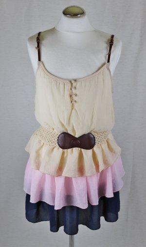 Neu Volant Stufenkleid Mini Kleid Colloseum Größe 38 40 L Beige Rosa Blau Amy Minikleid Stretch Gürtel Sommerkleid Festival