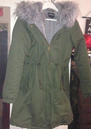 Neu Warme Jacke mit blau grauem Fell Gr. M