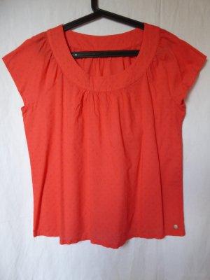 NEU: Weite, orangefarbene Kurzarm-Bluse mit Punkten von S.Oliver
