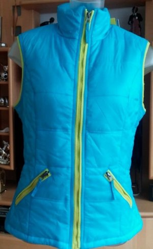 Quilted Gilet light blue-neon green