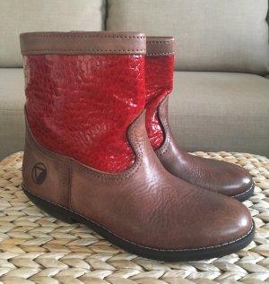 NEU Western Boots 38 Braun Rot Echteder Ankle Boots Leder Stiefeletten