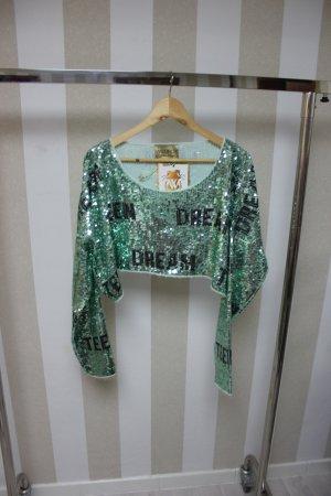 NEU WILDFOX Pailletten Crop Pullover Shirt Gr S