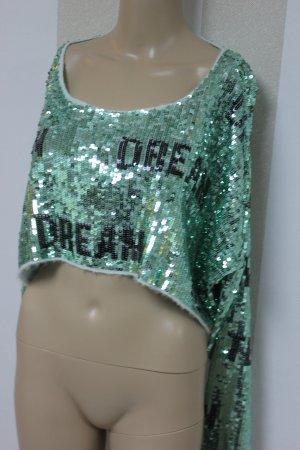 NEU Wildfox Teen Dream Crop Pailletten Pullover Sweatshirt Gr S