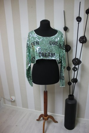 NEU WILDFOX TEEN DREAM CROP PULLOVER MIT PAILLETTEN GR S