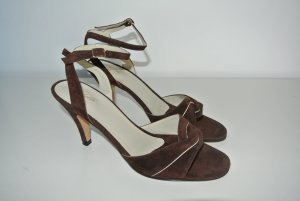 Strapped High-Heeled Sandals dark brown suede