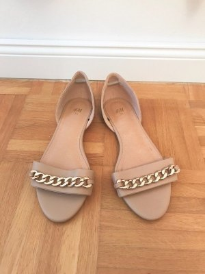 H&M Beach Sandals beige-gold-colored imitation leather