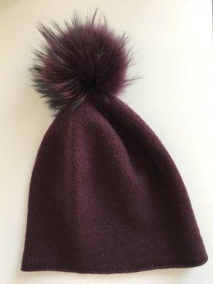 Loevenich Fur Hat purple wool