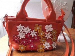 NEU!wunderschöne Tasche mit Blümchen und blingbling,orange,zierlich,sehr schick