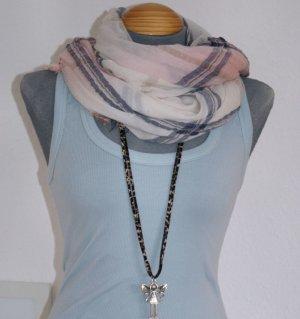 neu! XL SCHAL TUCH ~ Rosa Blau Beige Weiß ~ 185x95 Halstuch Blogger Trend ☀ ☃ ♥ WINTER-SALE ☆ ☀ ☃ ♥