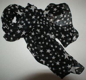 neu! XL Sterne Chiffon Tuch Schal Schwarz Weiß Sterne + Strass SONDERPREISE NUR DIESE WOCHE-ALLES MUSS RAUS ;-)