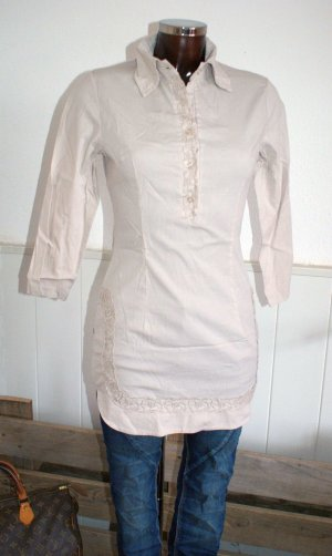 Neu - XS 34 ~ RESTART ~ Tunika Bluse Stretch Beige Spitze ~ Blogger Trendlook SALE :-)
