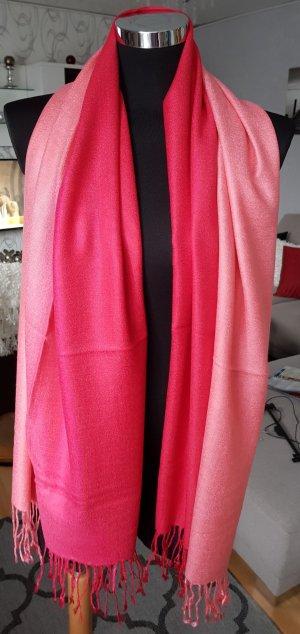 NEU! XXL Edler Schal Stola Tuch Rot mit Farbverlauf mit Fransen 172 x 71