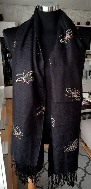 NEU! XXL Edler Schal Stola Tuch Schwarz mit Schmetterlingen 170 x 71