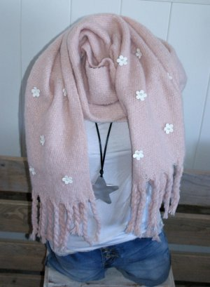 Scarf light pink-white mixture fibre