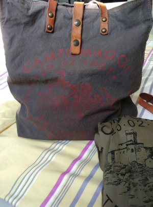 Neu! XXXL Campomaggi Canvas Tasche Shopper Umhängetasche, grau