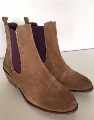 Neu XYXYX Ankle Boots 38 Stiefeletten Echtleder Biker Wildleder Camel Beige Lila Lederboots