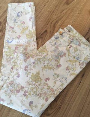 Neu Zara Blumen Röhren Jeans S 34 36 Floral Nude Pastell Slim Fit Ankle Skinny Hose Low Waist