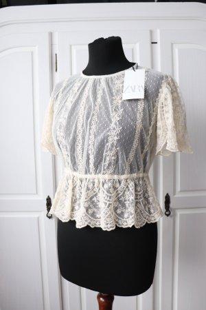 Neu Zara Bluse Shirt Top Größe S Spitze Tupfen Plumetis