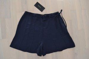 Neu Zara Glossy Bermuda Shorts Highwaist Viskose blau dunkelblau Kurze Hose S 36
