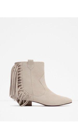 Neu! Zara Hippie Fransen Echtleder Leder Wildleder Blogger Ankle Boots Stiefeletten 36 37