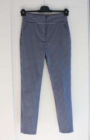 Zara Pantalón de cintura alta azul oscuro tejido mezclado