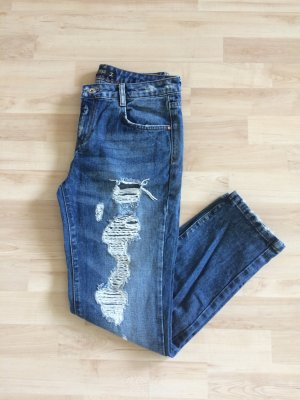 NEU Zara Jeans - blue Denim - Destroyed Look - Basic Jeans - ripped- Boyfriend Jeans - Gr.34 XS
