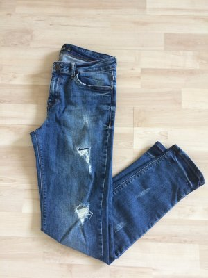NEU Zara Jeans - Blue Denim - Skinny Jeans - Destroyed Look - Basic Jeans - Gr.34 XS