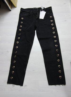 Zara Pantalon noir-doré