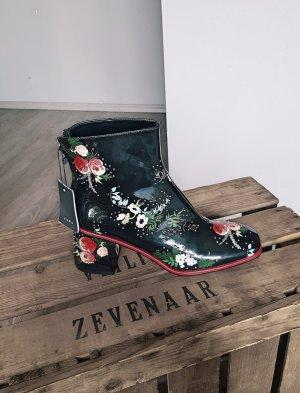 Neu Zara Lackleder - Stiefeletten Gr 39 mit Blumen Stiefel Lacklederstiefel Boots schwarz rot Gr 39