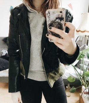 Zara Veste en cuir noir-vert olive